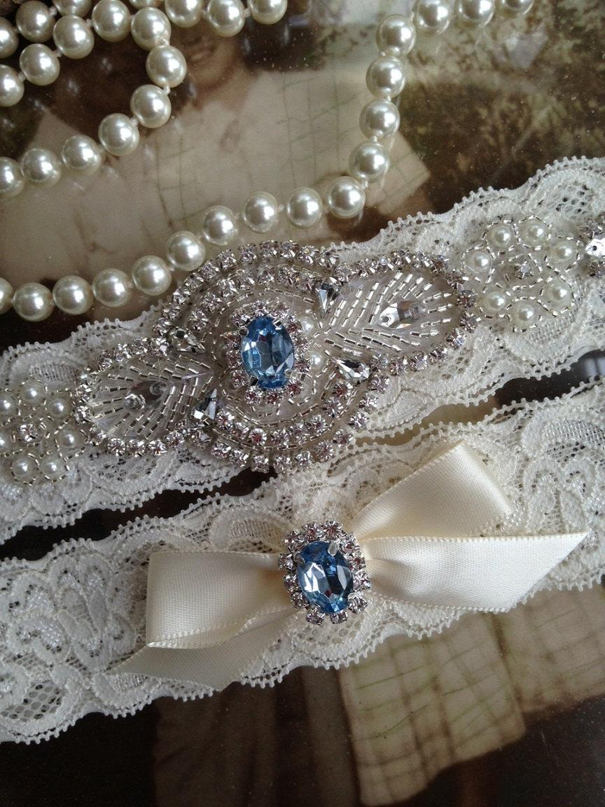 Wedding - Wedding Garter-Bridal Garter-Garter-Custom Garter-Something Blue-Rhinestone-Pearl-Keepsake-Lace Garter-Ivory-Garter Belt-Elastic Garter-Toss