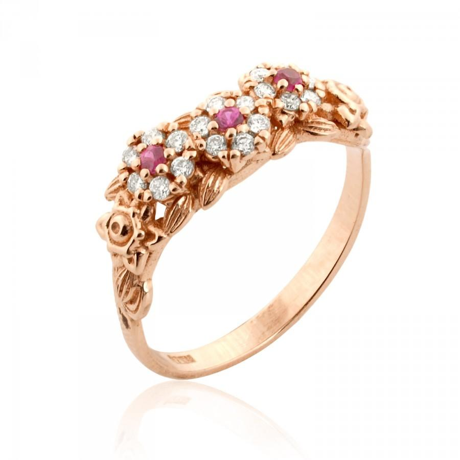 Rose Gold Engagement Ring Antique Style Ruby Ring Floral Ring