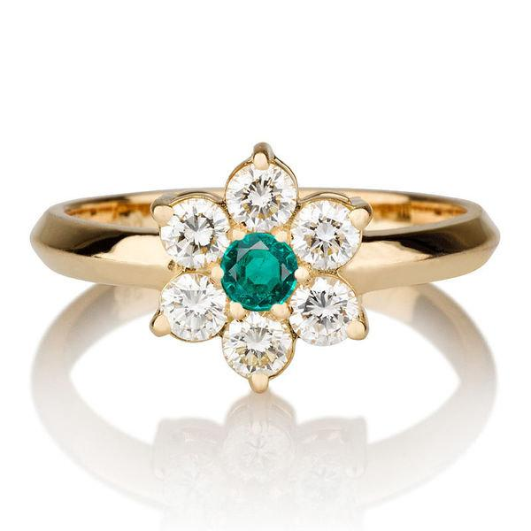 Hochzeit - Flower Shape Natural Emerald Ring, 14K Gold Ring, 0.55 TCW Natural Emerald Ring Art Deco, Diamond Ring Setting, Unique Rings
