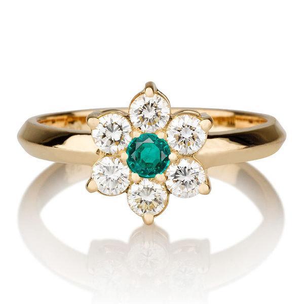 زفاف - Flower Shape Natural Emerald Ring, 14K Gold Ring, 0.55 TCW Natural Emerald Ring Art Deco, Diamond Ring Setting, Unique Rings