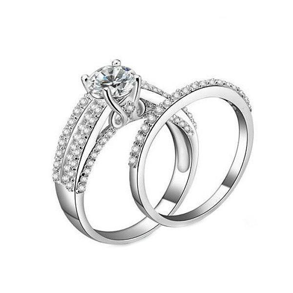 Mariage - Diamond Bridal Ring Set, Diamond Engagement Ring Set, Diamond Wedding Ring Set, 14K. White Gold Engagement Ring, Round Diamond Ring