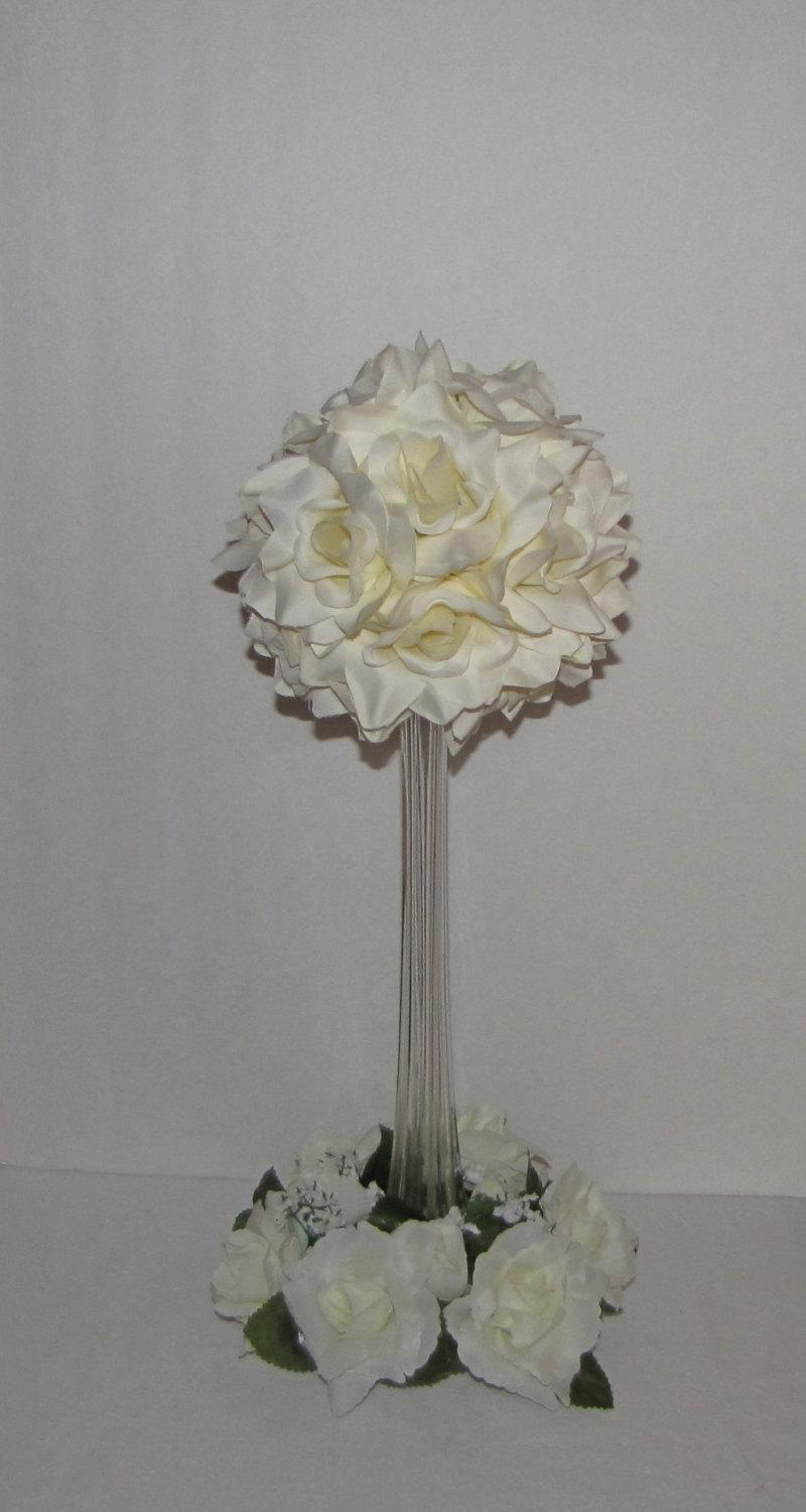 Wedding Centerpiece With 6d Ivory Rose Ball Tower Vase Silk Flower