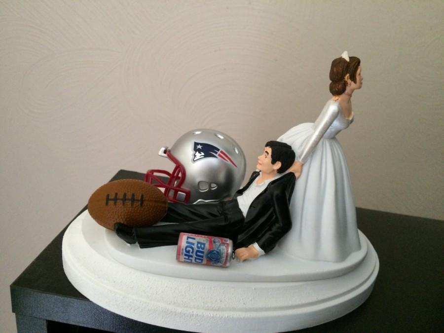 New England Patriots Wedding Cake Topper Bridal Nfl Funny Football