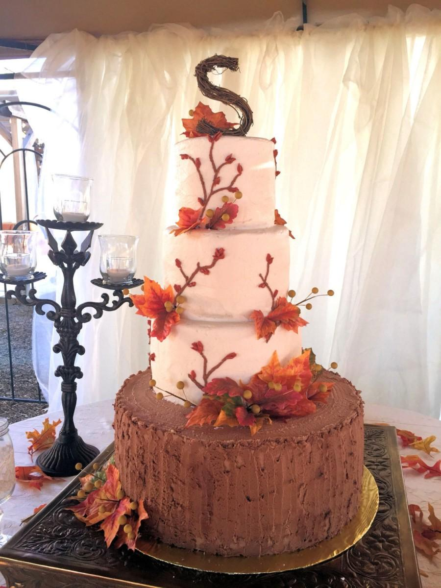 Свадьба - Rustic Twig Wedding Cake Topper - Personalized Grapevine Letter - Print Style