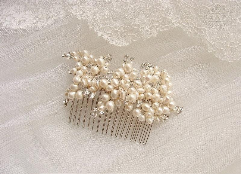 Hochzeit - Bridal Headpiece, Crystal Wedding Headpiece, Wedding Hair Accessories, Pearl Bridal Comb, Beaded Headpiece, Pearls Crystal Bridal Comb, Boho