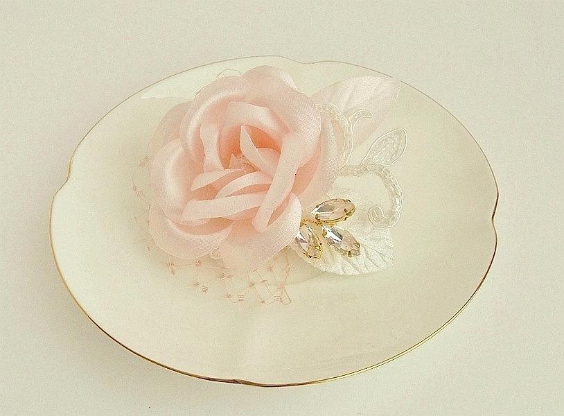Blush Pink Hair Flower Or Brooch Bridal Wedding: Blush Pink Hair Flower, Floral Wedding Headpiece, Bridal