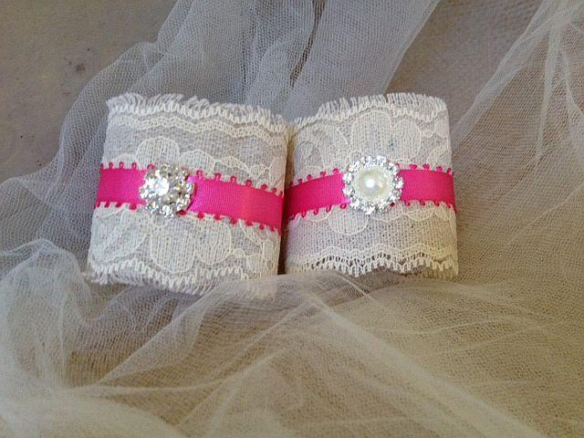 Mariage - Pink and Ivory Napkin Holders for Country Weddings, Bridal or Baby Showers - Engagement/Rehearsal/Wedding Table Decor - Set of 25