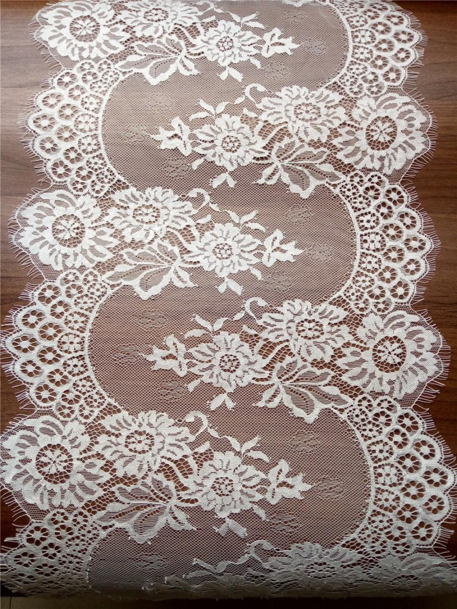 "Hochzeit - 10ft Ivory Lace Table runner 12""  white  table runners wedding  table runners  runner14101501"