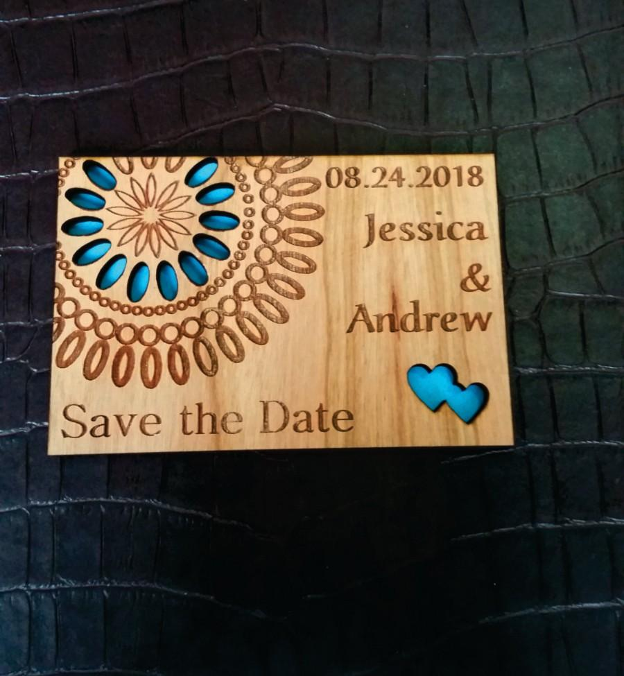 Mariage - Wood save the date magnet / engraved flower save the date / wedding favor magnet / wood wedding invitation