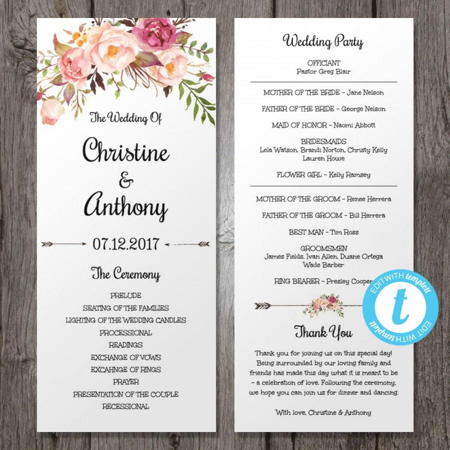 floral bohemian wedding program template instant download edit in