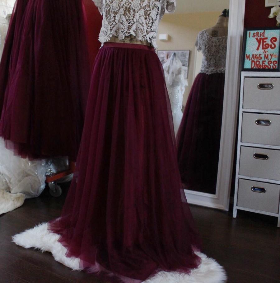 Mariage - Long maxi tulle skirt / burgundy tulle skirt floor length skirt / deep red Skirt /Custom Made Skirt / dark red bridesmaid skirt