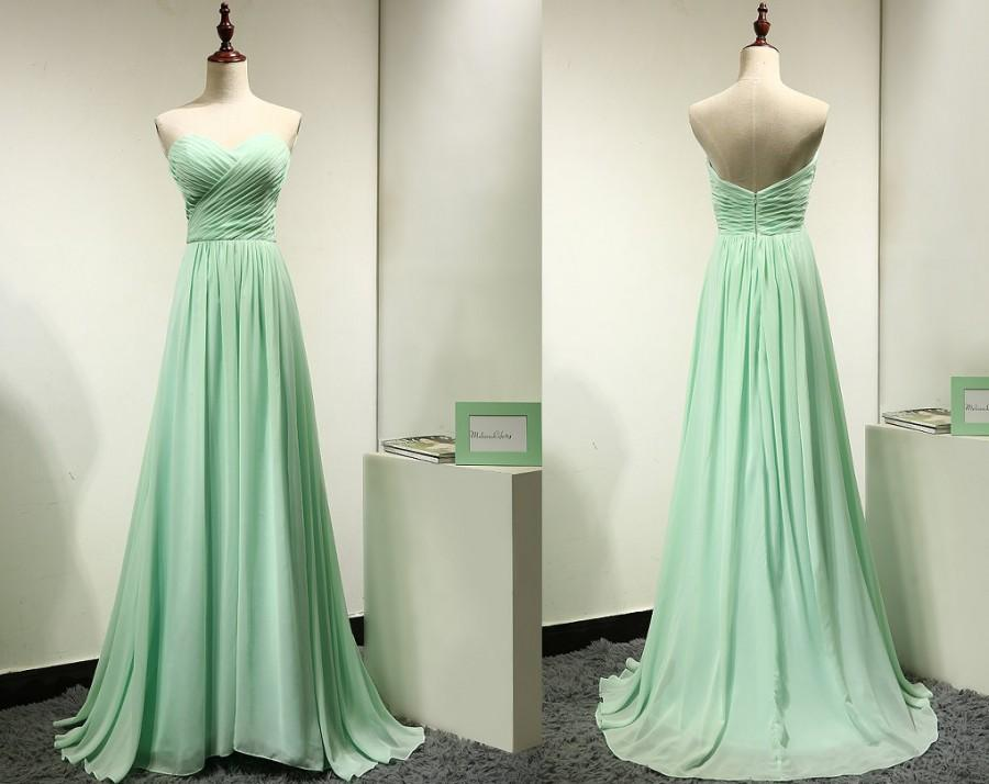 Long Mint Green Chiffon Bridesmaid Dress Wedding Party
