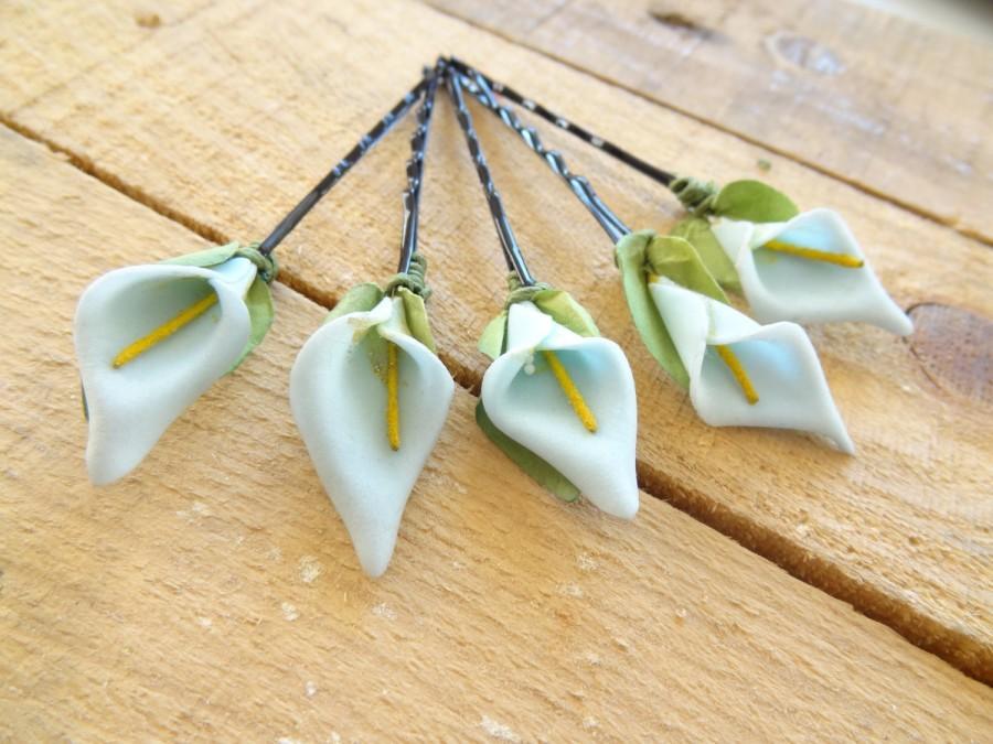 Свадьба - Blue Calla Lilies  Wedding Hair Pins,Calla Lilies Hair Pins,  Calla Lilies Hair Clips, Bridal Hair Pins, Wedding Hair Flowers, Set 5
