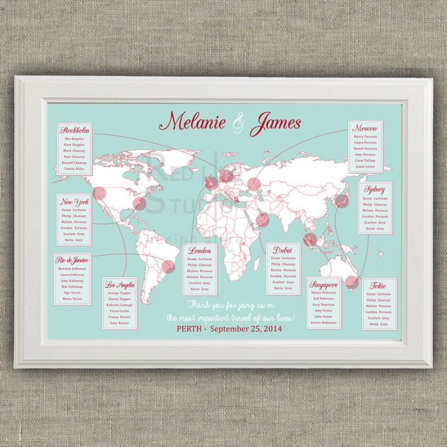 travel theme wedding seating chart world map destinations