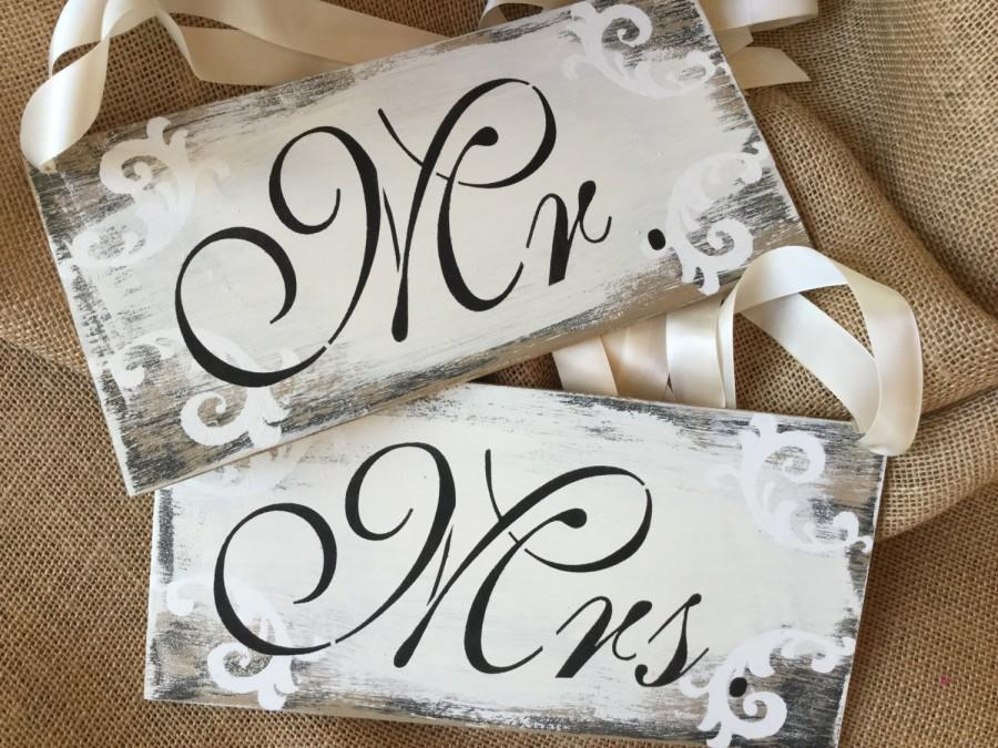 Mr And Mrs Sign Set Wedding Signs Chair