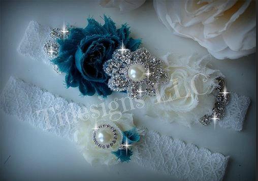 Свадьба - Wedding Garter Set, Bridal Garter, Ivory Garter, Rhinestone garter,Vintage Inspired Garter Set, Teal Garter Set