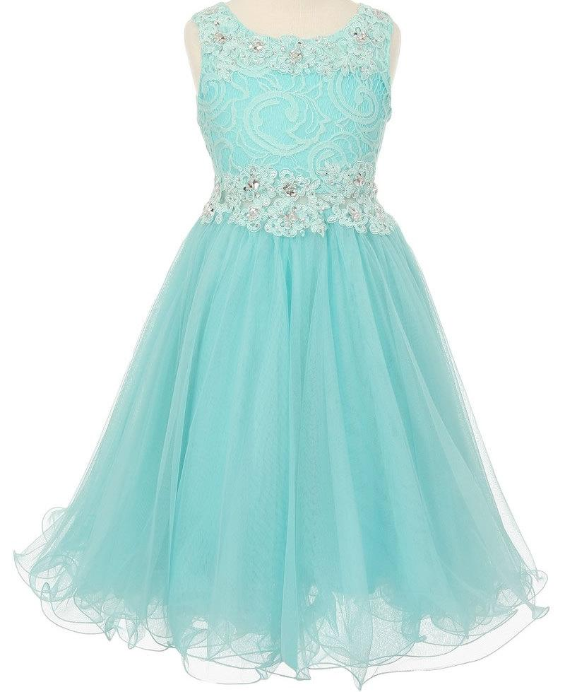 Mariage - Flower girl dress aqua pink lace embellished with sequins and sparkles, aqua flower girl dress, aqua  party dress, junior bridesmaid dress
