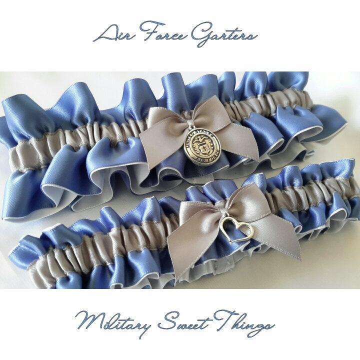 Hochzeit - Air Force Smoke Blue, White & Grey Satin Garter Set