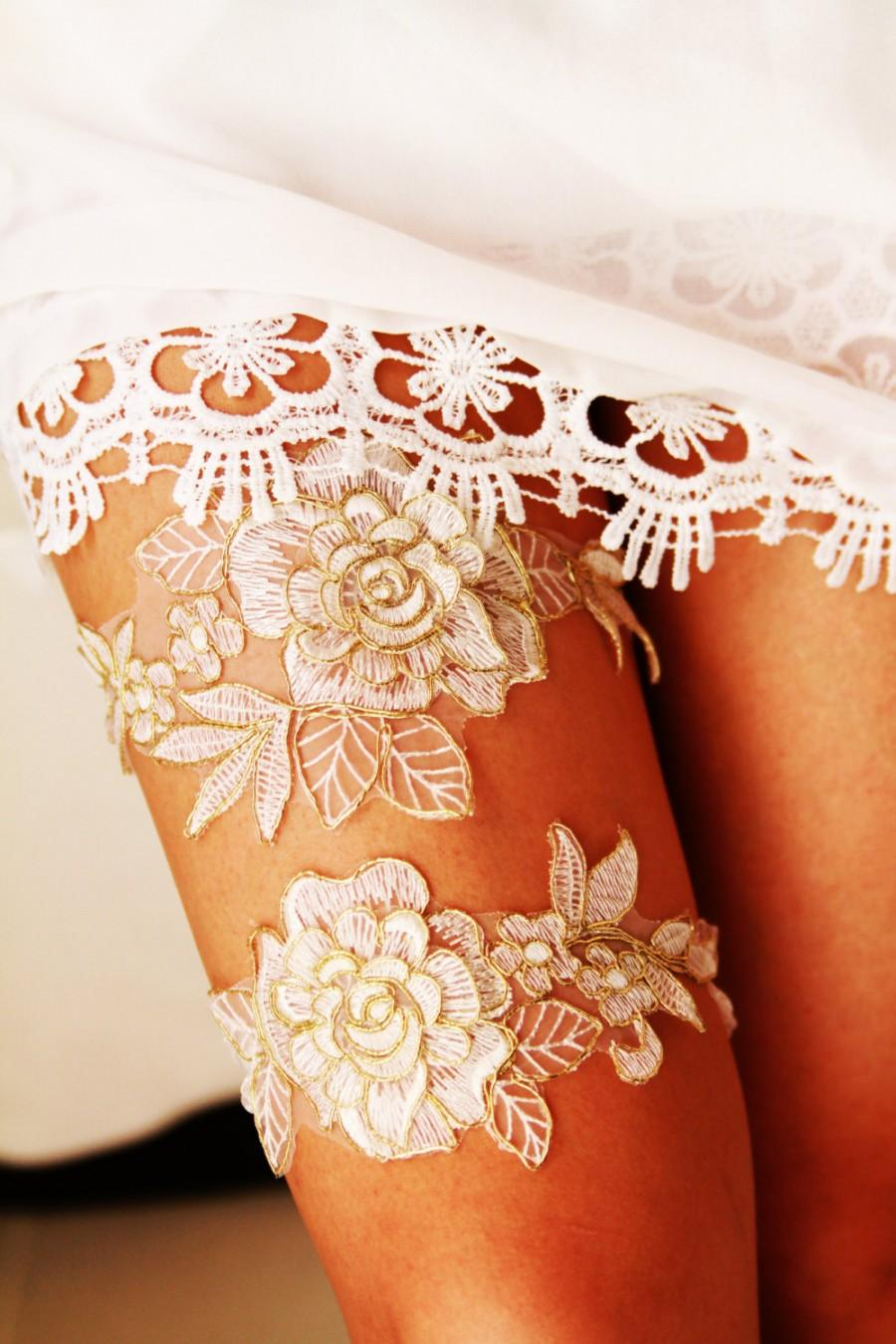 Свадьба - Wedding Garter Set Bridal Garter Set - Rose Gold Ivory Lace  Garters - Keepsake Garter Toss Garter Belt Prom Garter Rustic Boho Wedding