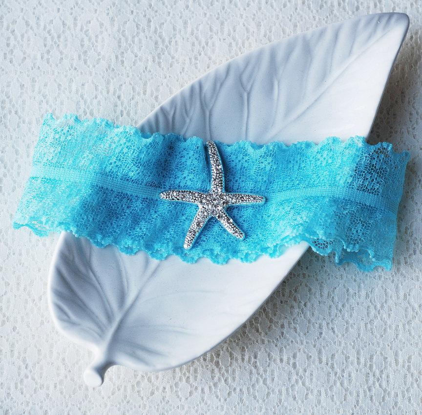 زفاف - Wedding Garter Bridal Garter TURQUOISE BLUE Garter Set Lace Garter Rhinestone Crystal Starfish Garter Beach Wedding GR075LX