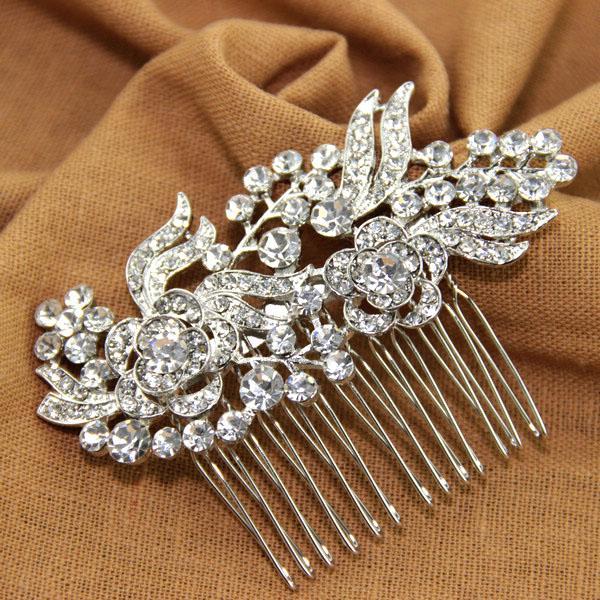 Wedding - Vintage Flower Leaf Bridal Hair Comb Rhinestone Simulated Pearl [hc1228] $9.99 - Tyale Jewelry