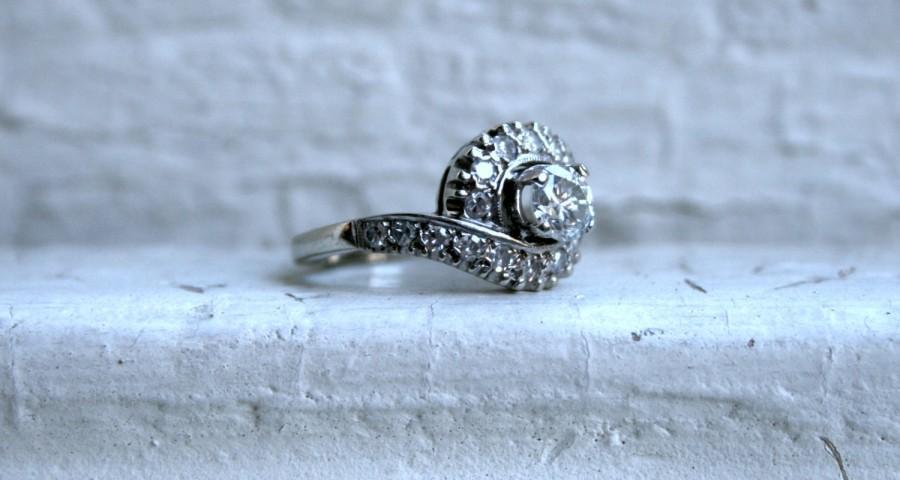 Свадьба - Vintage 14K White Gold Diamond Engagement Ring -1.22ct.