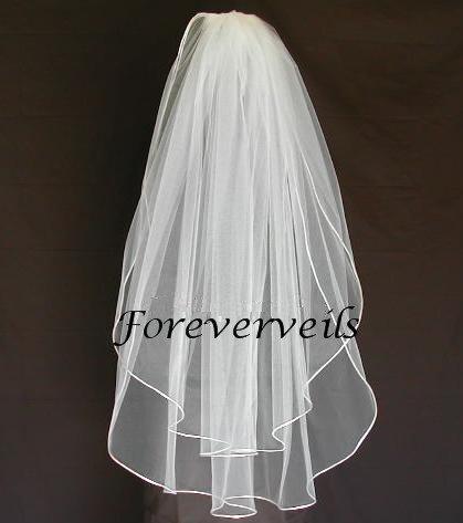 Mariage - Fingertip bridal veil 2 layers white, ivory, diamond white or champagne satin edge cut edge