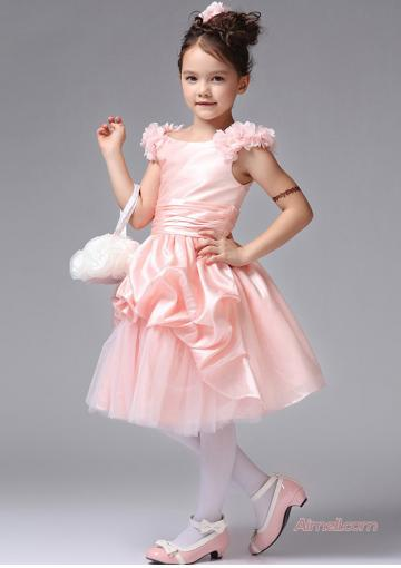 Mariage - Flowers Pink Taffeta Tulle Zipper Sleeveless Scoop Ruched Knee Length