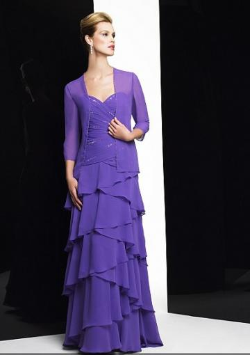 Wedding - Zipper Sweetheart Purple Tiers Sleeveless Floor Length Chiffon