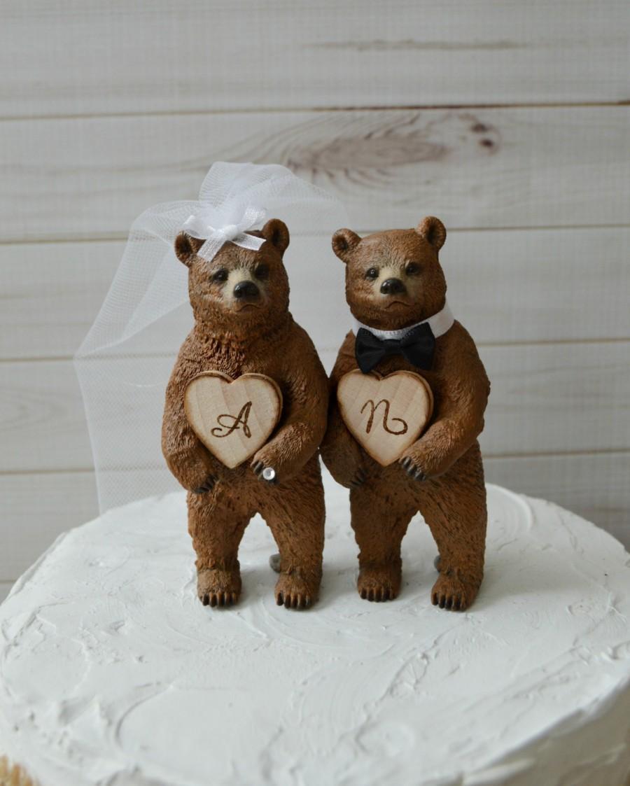Country Bear Wedding Cake Topper Rustic Brown Custom Initials Bride And Groom Names Hunting Hunter Wood Burnt Grooms