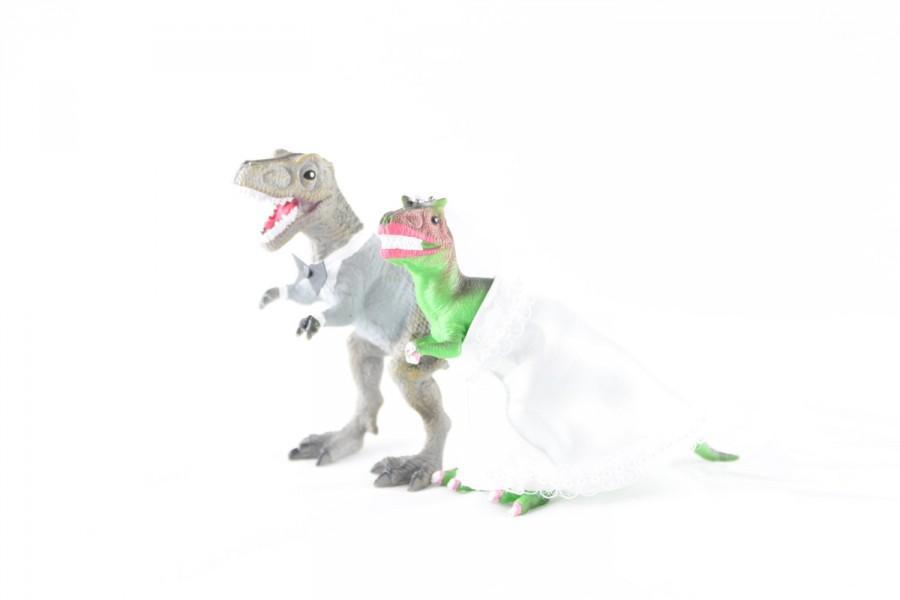 Mariage - Custom Dinosaur Bride & Groom  Wedding Cake Toppers -Trex