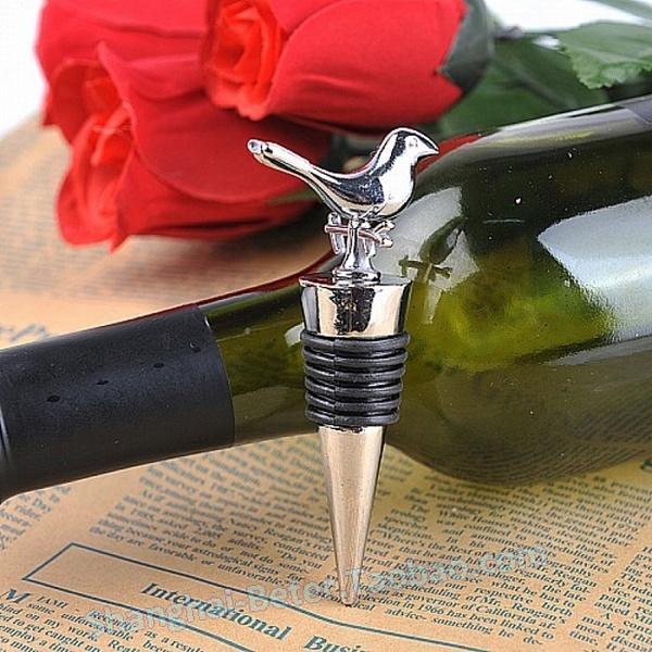 Wedding - Quinceanera WJ083 Lovebirds Chrome Bottle Stopper Souvenirs