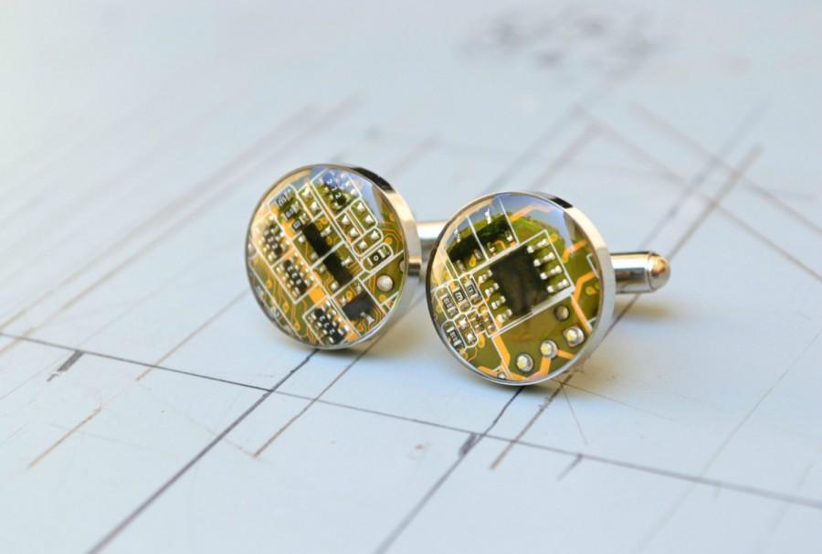 Hochzeit - Nerdy Computer Circuit Board Mens Cufflinks Custom Wedding Stainless Steel Best Man Cufflinks