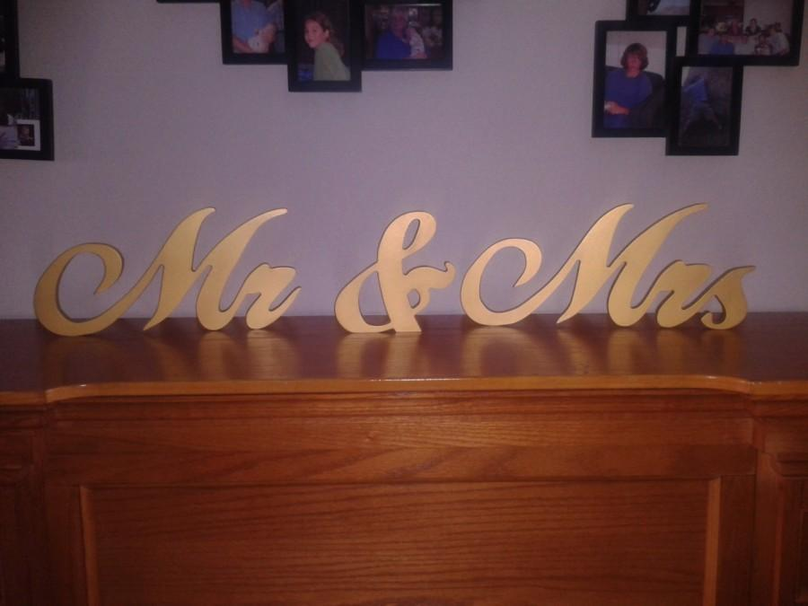 "Wedding - 7"" Mr & Mrs Painted 3/4"" thick Painted Black, Gold, Silver, White, Ivory Wood Special Pricing"