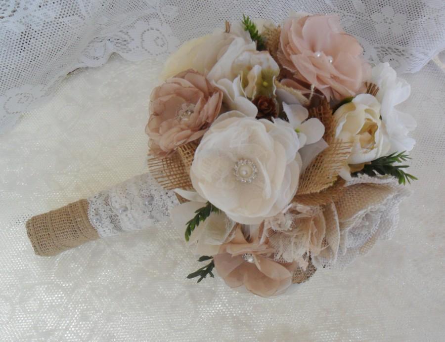 Rustic Bouquet Burlap Lace Vintage Bouquet Fabric Brooch