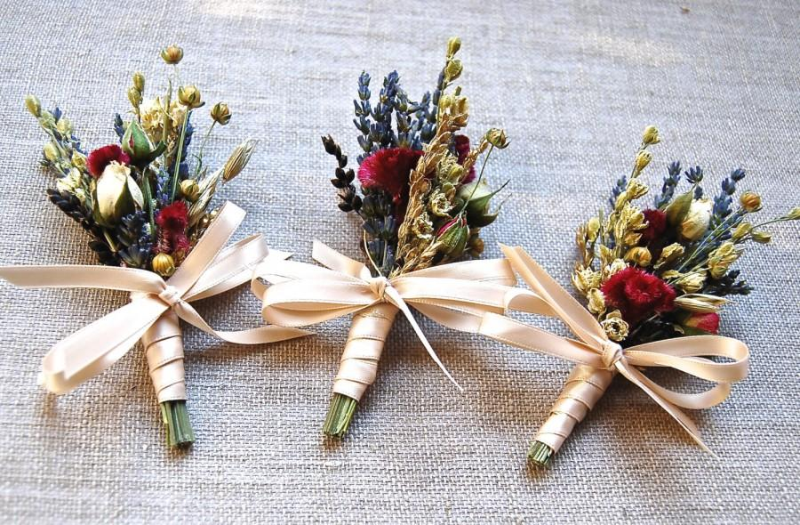 Свадьба - 8 Fall Winter or Holiday Wedding  Boutonniere or Corsage of Gilded Gold Wheat, Dried  Lavender, Rosebud, Celosia, Flax and Dried Flowers