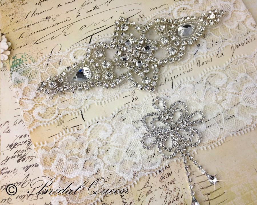 زفاف - Lace Garter Set, Rhinestone Garter, Lace Wedding Garter Set, Bridal Garter Set, Crystal garter, White Lace Garter
