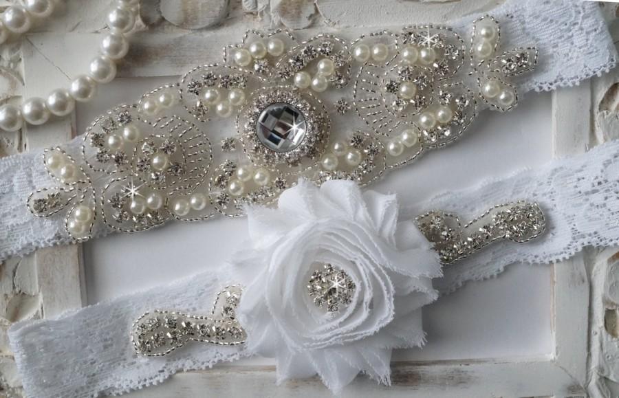 زفاف - Wedding Garter Set, Bridal Garter Set, Vintage Wedding, Lace Garter, Crystal Garter Set, Pearl Garter-Style 200