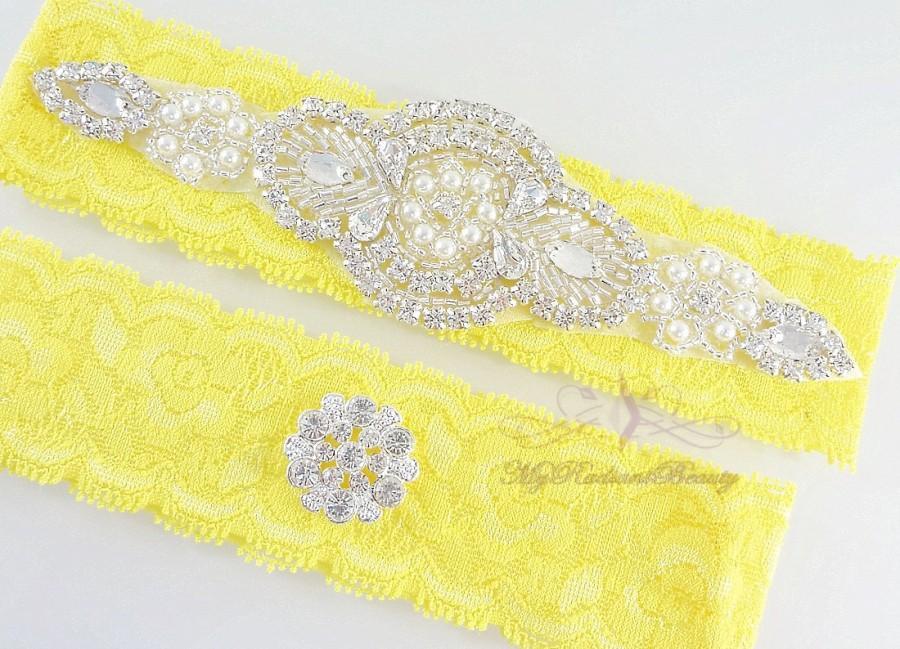 زفاف - Bridal Garter, Garter, Wedding Garter, Crystal Applique Garter, Yellow Rhinestone Garter, Handmade Custom Garter, Beaded Garter Set GTA0049
