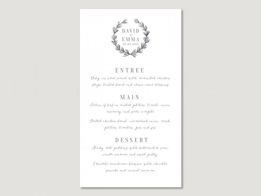 Свадьба - Printable Wedding Menu Card Wreath Seasonal Winter Vintage Traditional Calligraphy Customisable Christmas Seasonal