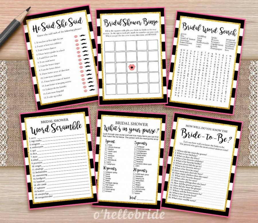 black and white pink gold bridal shower games package printable bridal shower games bridal shower games bachelorette bash 014