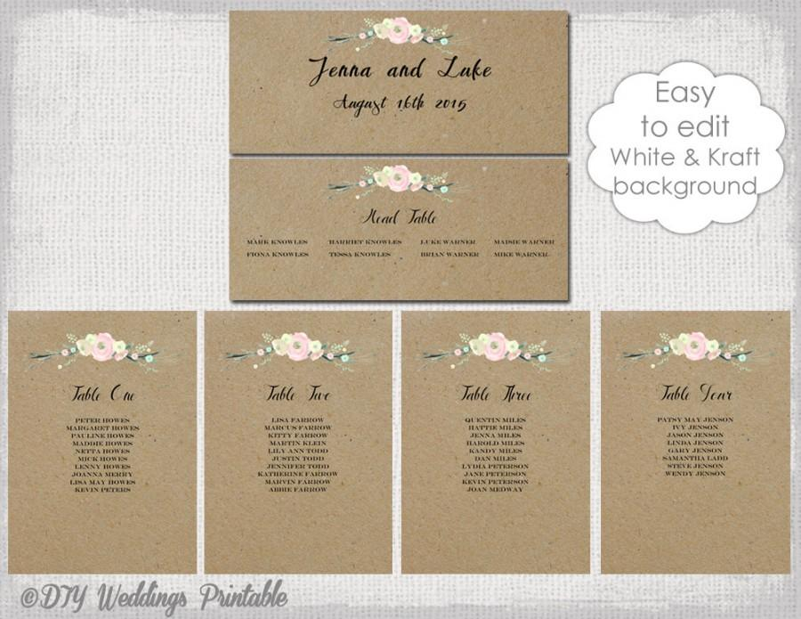 Rustic Seating Chart Template Printable Cards Diy Kraft Wedding Table Plan Flowers You Edit Word Instant