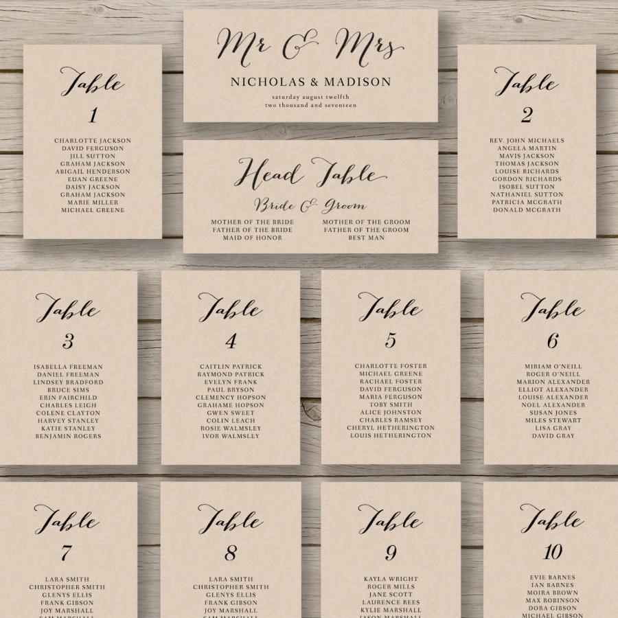 Rustic Wedding Seating Chart Ideas: Wedding Seating Chart Template
