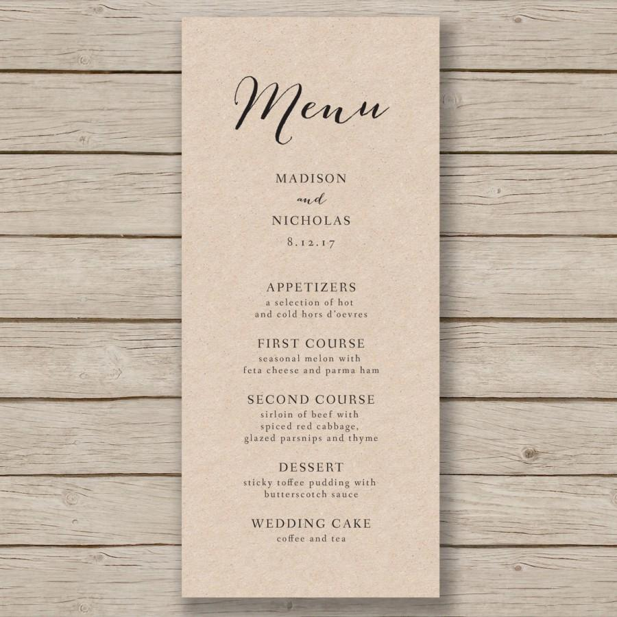 free wedding menu templates word