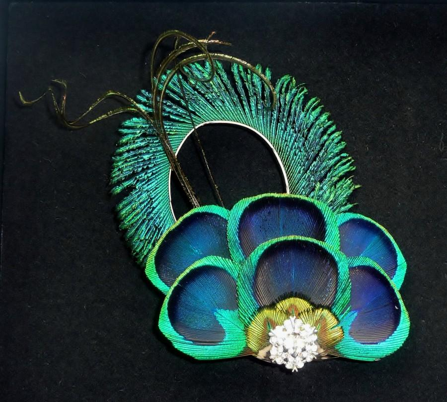 Свадьба - Bridesmaids Peacock Feather Hair Clip Eye Feathers Curled Crystal Turquoise Blue Fascinator Wedding Hair Accessory 'Anna'
