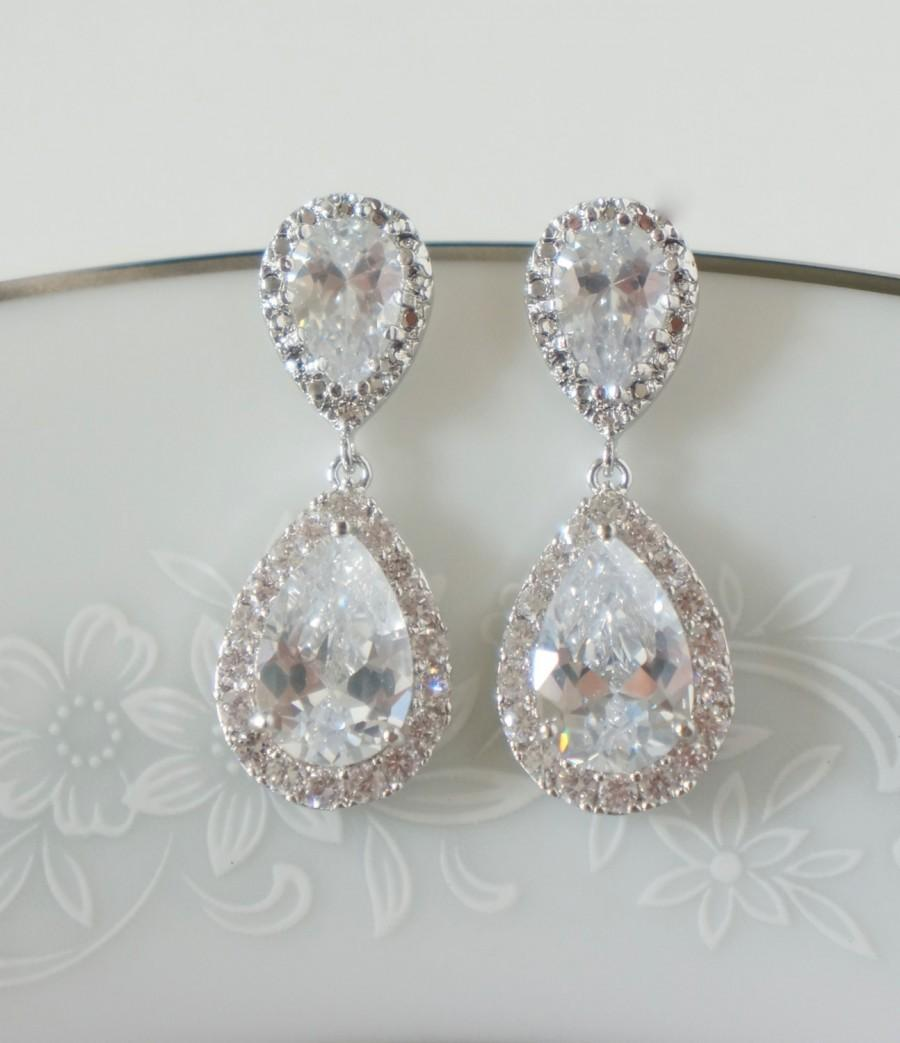 Crystal Bridal Earrings Wedding Jewelry Swarovski Gold Drop