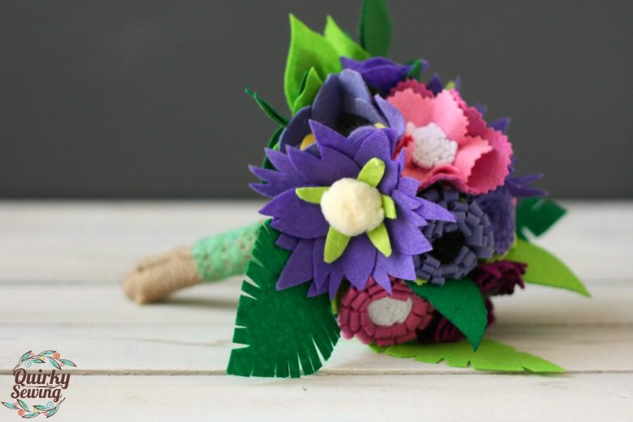 Felt Wedding Bouquet, Alternative Wedding Bouquet,Felt Flower ...
