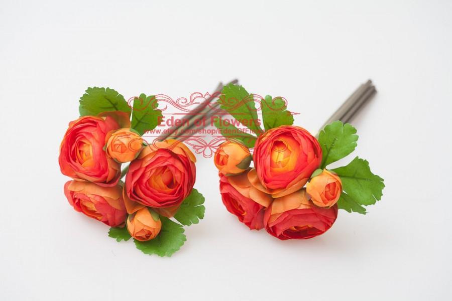 2 Bunch Orange Silk Ranunculus Faux Flowers For Wedding Bouquets