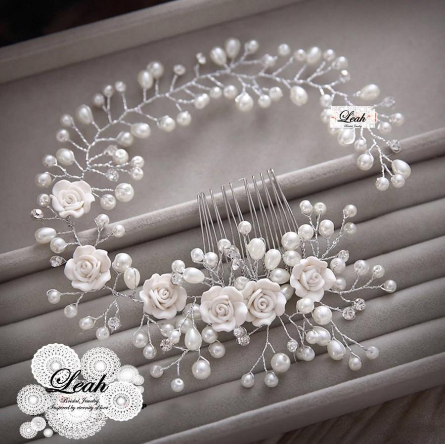 Свадьба - Vintage Inspired hair vine, Ivory Rose, freshwater pearl Wedding hair accessory, Hair piece, Elegant, Unique, simple, bridal jewelry, flower