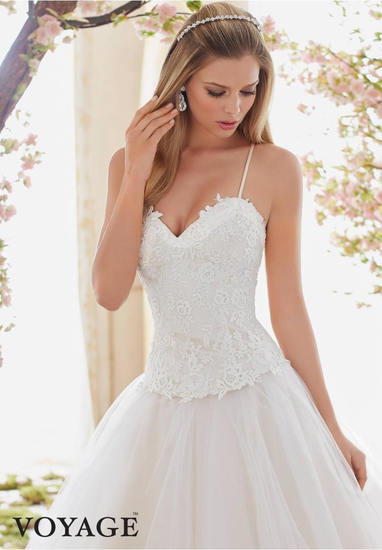 Wedding - LACE APPLIQUES FLOOR LENGTH MORI LEE 6840 WEDDING DRESS